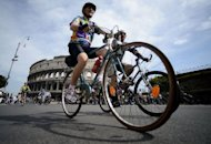 Cyclists take part in a protest rally calling for more and safer bicycle infrastructure, in Rome. Thousands of cyclists staged a protest near the Colosseum in Rome on Saturday to draw attention to poor road safety and the lack of provisions for bike lovers in the car-cluttered Eternal City