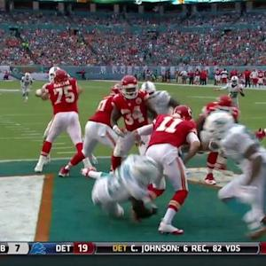 Kansas City Chiefs quarterback Alex Smith sacked for a safety