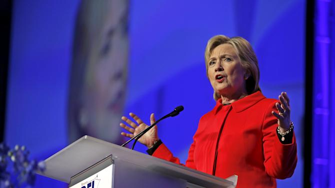 U.S. Democratic presidential candidate Hillary Clinton addresses the Minnesota Democratic Party's Humphrey-Mondale Dinner in St Paul