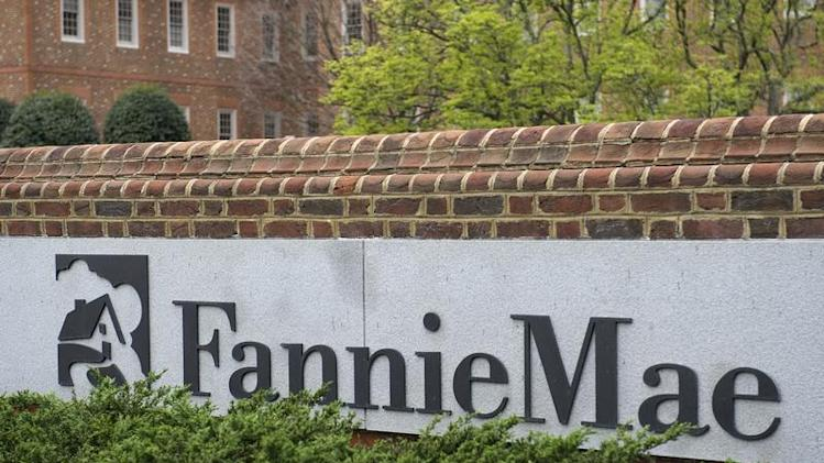 A view shows the Fannie Mae logo at its headquarters in Washington