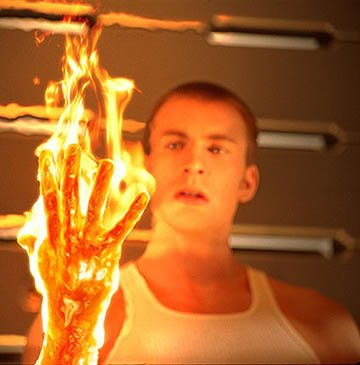 Chris Evans as Johnny Storm, aka the Human Torch in 20th Century Fox's Fantastic Four
