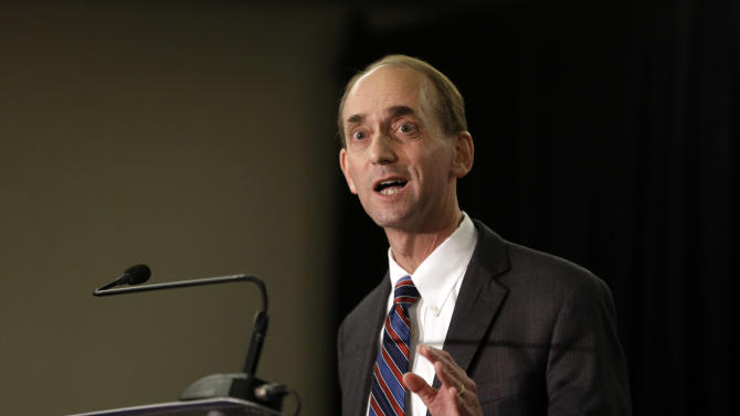 """FILE - In this Jan. 28, 2015 file photo, Missouri Auditor Tom Schweich announces his candidacy for governor in St. Louis. Schweich's spokesman said he was taken to a hospital Thursday, Feb. 26, 2015 after experiencing what his staff described as a """"medical situation"""" at his home in Clayton, Mo. No other details were released. (AP Photo/Jeff Roberson, File)"""