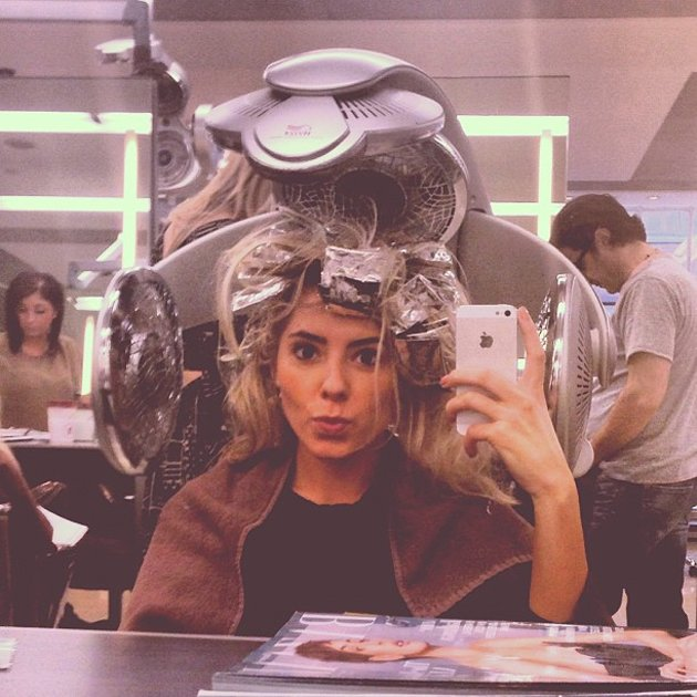 "Celebrity Twitpics: The Saturdays' Mollie King tweeted this photo whilst she was having her hair done this week. She tweeted it with the caption: ""So hot right now."" Copyright [Mollie King]"