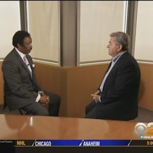 Football Executive Carmen Policy Visits CBS2's Jim Hill To Discuss Carson NFL Stadium