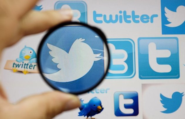 A person holds a magnifying glass over a computer screen displaying Twitter logos, in this picture illustration taken in Skopje September 10, 2013. REUTERS/Ognen Teofilovski
