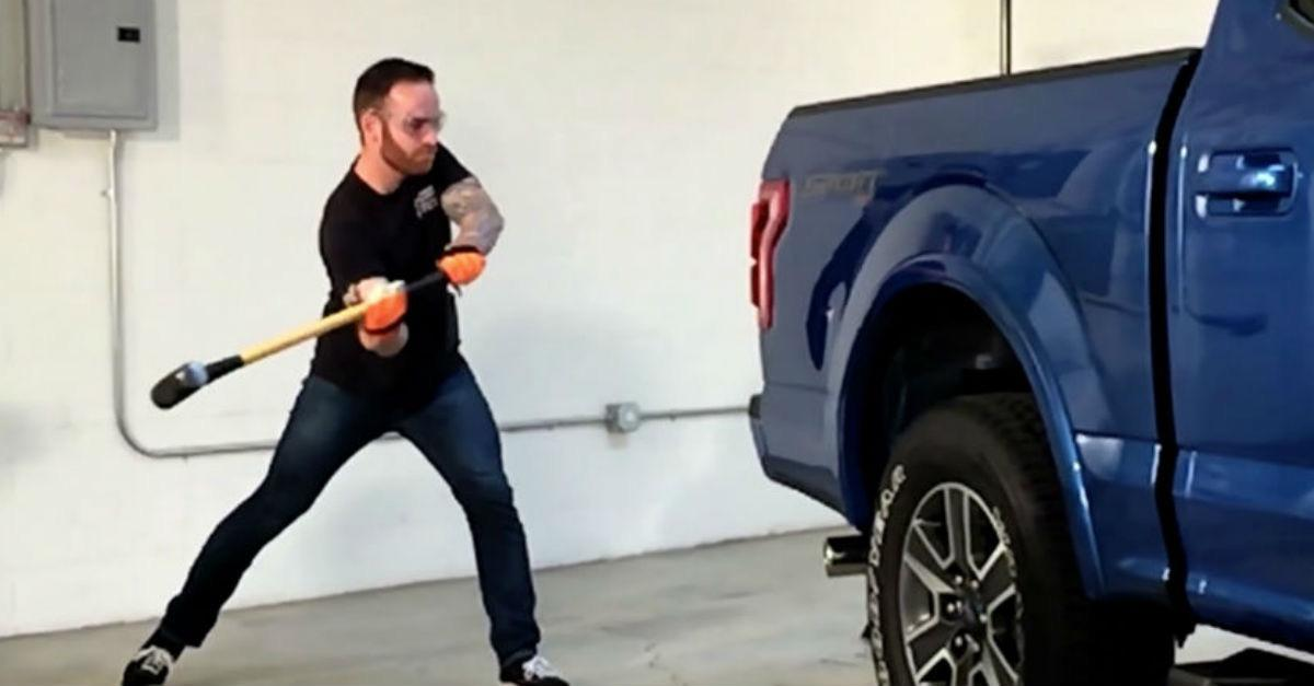 Guy Beats on an Aluminum F-150 and This Happens...
