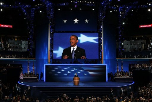 <p>US President Barack Obama speaks on stage as he accepts the nomination for a second time during the final day of the Democratic National Convention on September 6, 2012 in Charlotte, North Carolina. Obama implored Americans to grant him a second term to complete his battered crusade for change</p>