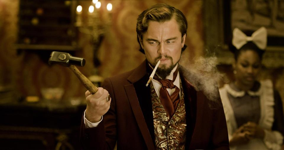 "FILE - This undated publicity file image released by The Weinstein Company shows Leonardo DiCaprio as Calvin Candle in ""Django Unchained,"" directed by Quentin Tarantino.  (AP Photo/The Weinstein Company, Andrew Cooper, SMPSP, File)"