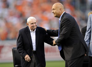 FILE - In this Sept. 6, 2012, file photo, former Baltimore Orioles baseball player Cal Ripken, Jr., right, greets former manager Earl Weaver, left, during a pregame ceremony before a baseball game bet