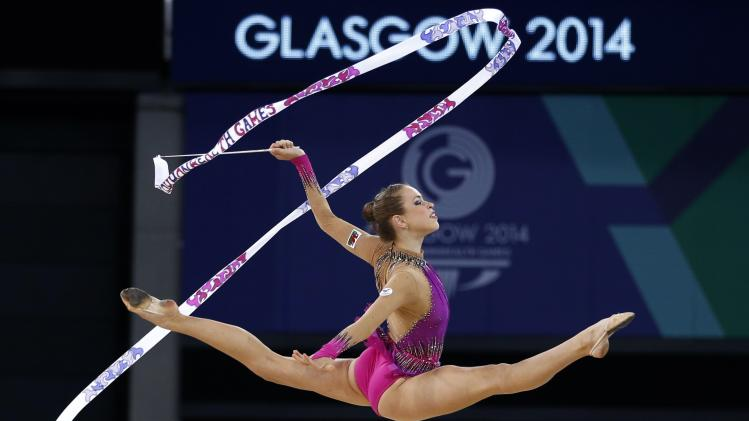 Jones of Wales performs during her ribbon routine as she competes in the rhythmic gymnastics individual apparatus final at the 2014 Commonwealth Games in Glasgow
