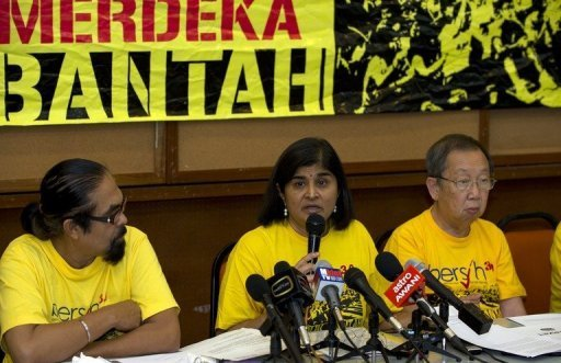 Ambiga Sreenevasan (C), leader of electoral reform pressure group Bersih 2.0, pictured in Kuala Lumpur