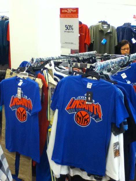 Jeremy Lin New York Knicks T-Shirts Marked Down to Half Price:  Fan's Reaction