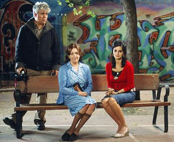 Director Pedro Almodovar , Carmen Maura and Penelope Cruz on the set of Sony Pictures Classics' Volver