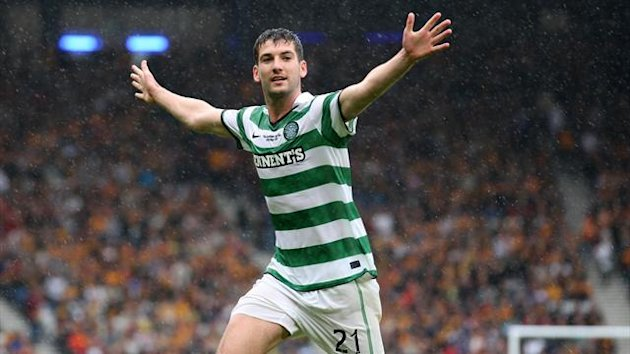 Charlie Mulgrew scored Celtic&#39;s second goal against his former club Aberdeen
