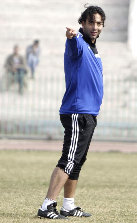"Ahmed Hossam ""Mido"", new head coach of Zamalek, gestures during his first practice session with the team's players in Cairo"