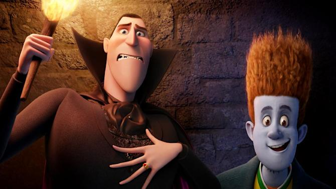 """This film image released by Sony pictures shows Dracula, voiced by Adam Sandler, left, and Johnnystein, voiced by Andy Samberg in a scene from """"Hotel Transylvania."""" (AP Photo/Sony Pictures)"""