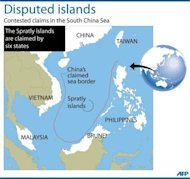 Graphic showing disputed claims in the South China Sea, where the Spratly islands are claimed by six states. The United States will shift the bulk of its naval fleet to the Pacific by 2020 as part of a new strategic focus on Asia, Pentagon chief Leon Panetta told a summit in Singapore