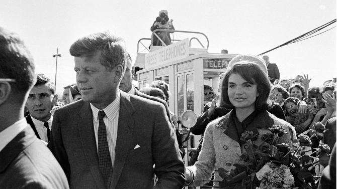 "FILE - This Nov. 22, 1963 file photo shows President John F. Kennedy and his wife Jacqueline Kennedy upon their arrival at Dallas Airport, in Dallas, shortly before President Kennedy was assassinated. The TLC network is making a movie about some of the 800,000 condolence letters that were sent to the widow of former President John F. Kennedy after his 1963 assassination. ""Letters to Jackie"" will air this fall, as the 50th anniversary of Kennedy's killing approaches on Nov. 22. (AP Photo, file)"