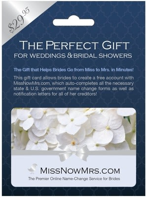 MissNowMrs.com, the leading online name change service for brides, now offers gift cards available at Rite Aid.