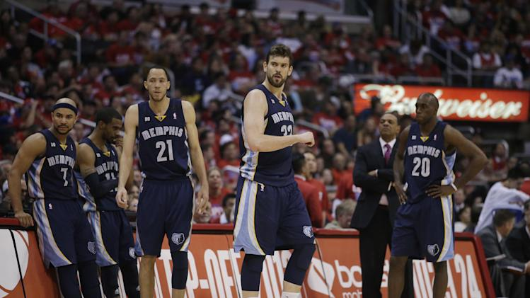 The Memphis Grizzlies players look on during the first half in Game 5 of a first-round NBA basketball playoff series against the Los Angeles Clippers in Los Angeles, Tuesday, April 30, 2013. (AP Photo/Jae C. Hong)