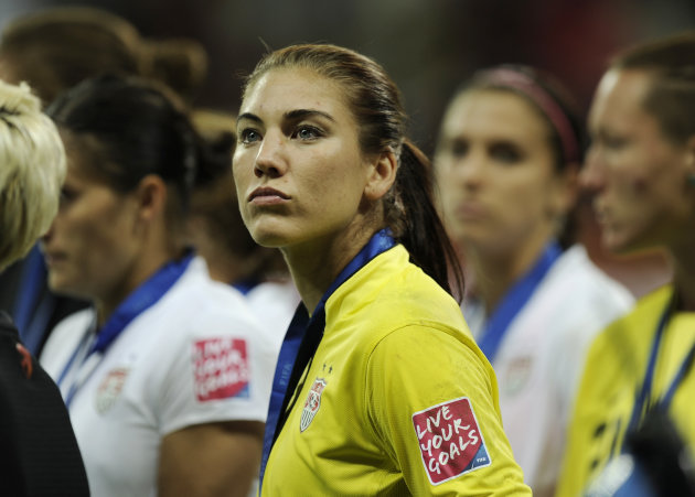 United States goalkeeper Hope Solo reacts after the US lost the final match between Japan and the United States at the Women's Soccer World Cup in Frankfurt, Germany, Sunday, July 17, 2011.The Japanes