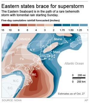 Map shows predicted rain across the northeast