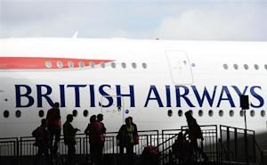 British Airways' new Airbus A380 arrives at a hanger after landing at Heathrow airport in London