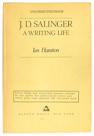 "This undated photo provided by Swann Auction Galleries shows the cover of a review copy of ""J.D. Salinger: A Writing Life"" by Ian Hamilton. The unauthorized and never published biography of J.D. Salinger is going up for auction at Swann Auction Galleries on Nov. 21, 2013. (AP Photo/Swann Auction Galleries)"
