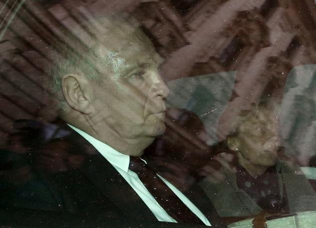 Bayern Munich President Hoeness and wife Susi leave by car following the verdict in his trial for tax evasion at the regional court in Munich