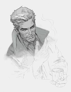 """This image provided by DC Entertainment shows chain-smoking British occult detective John Constantine. Constantine, long a staple of Vertigo's """"Hellblazer,"""" is getting what promises to be a duly deserved send off as the title ends at No. 300 in February. (AP Photo/DC Entertainment)"""