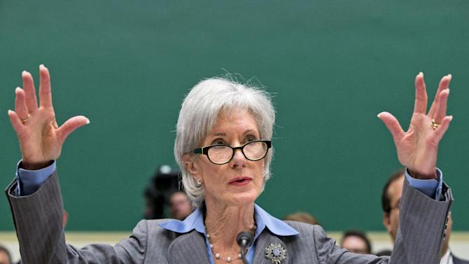 Health and Human Services Secretary Kathleen Sebelius gestures while testifying on Capitol Hill in Washington, Wednesday, Oct. 30, 2013, before the House Energy and Commerce Committee hearing on the difficulties plaguing the implementation of the Affordable Care Act. The Obama Administration claims the botched rollout was the result of contractors failing to live up to expectations – not bad management at HHS. As the public face of President Barack Obama's signature health care program, Sec. Sebelius has become the target for attacks over its botched rollout with Republicans, and even some Democrats, calling for her to resign. (AP Photo/J. Scott Applewhite)