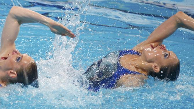 Russia's Ishchenko and Romashina perform during synchonised swimming duet free final at Aquatics World Championships in Kazan