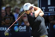 Shin Ji-Yai of South Korea tees off during the final round of the Women's Australian Open in Canberra on February 17, 2013. She won the tournament on Sunday, ending two strokes clear of Taiwan's Yani Tseng and four ahead of Lydia Ko at 18-under