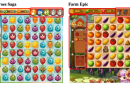 In its lawsuit, King argued that Farm Epic (right) infringed copyrights of its Farm Heroes Sage (left)