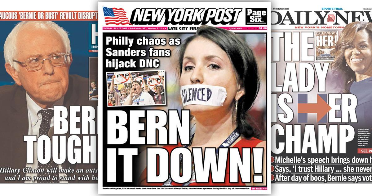 How newspaper's covered the DNC's first big day
