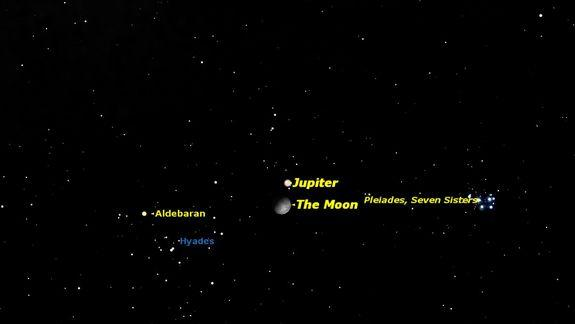 See Jupiter and Moon Shine Dazzlingly Close Together Monday