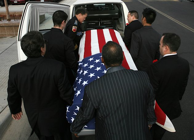 Pallbearers carry Sherman Hemsley&#39;s remains into Cielo Vista Chuch in El Paso, Texas, Wednesday, Nov. 21, 2012, nearly four months after his death. Friends and family are remembering actor Sherman Hemsley at his funeral service in Texas by showing video clips of his best known role as George Jefferson on the TV sitcom &quot;The Jeffersons.&quot; He died in July but a fight over his estate has delayed his burial. (AP Photo/The El Paso Times, Mark Lambie) EL DIARIO OUT; JUAREZ MEXICO OUT; AND EL DIARIO DE EL PASO OUT