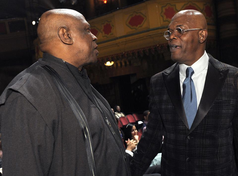 Louis Gossett Jr., left, and Samuel L. Jackson are seen in the audience at the 43rd NAACP Image Awards on Friday, Feb. 17, 2012, in Los Angeles. (AP Photo/Chris Pizzello)