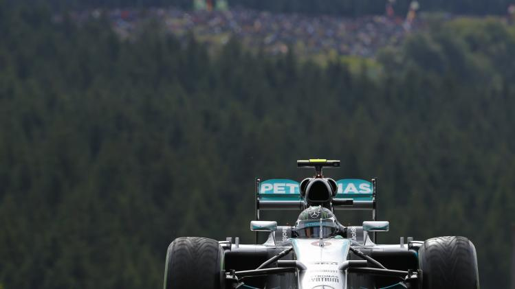 Mercedes Formula One driver Nico Rosberg of Germany drives during a practice session at the Belgian F1 Grand Prix in Spa-Francorchamps