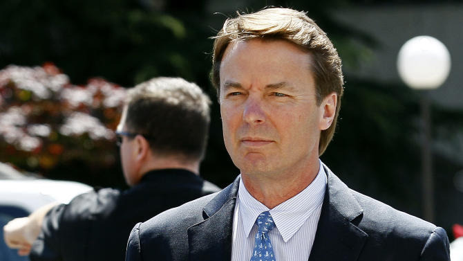 FILE - In this April 12, 2012, file photo, former presidential candidate and U.S. Sen. John Edwards arrives outside federal court in Greensboro, N.C.  Andrew Young retook the witness stand for a fourth straight day at Edwards' criminal trial in a North Carolina courthouse over accused campaign finance violations on Thursday, April 26, 2012. The former aide was the first witness called by the prosecution and is key to making the government's case that Edwards directed a scheme to use nearly $1 million in secret payments from two wealthy donors used to help hide his pregnant mistress as he campaigned for the White House in 2008.  Edwards has pleaded not guilty to six criminal counts and faces up to 30 years behind bars if convicted.  (AP Photo/Gerry Broome, File)