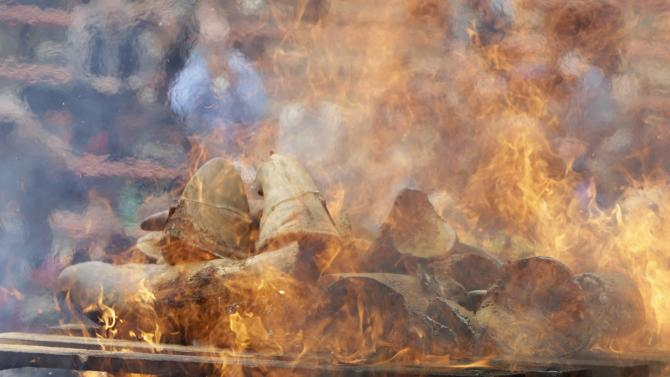 Rhino horns are burned during the Global Rhino Horn Burning Ceremony on the eve of World Rhino day at Dvur Kralove zoo in Dvur Kralove