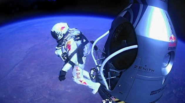 FILE - A Sunday, Oct. 14, 2012 file image provided by Red Bull Stratos shows pilot Felix Baumgartner of Austria as he jumps out of the capsule during the final manned flight for Red Bull Stratos. According to the official numbers released Monday, Feb. 4, 2013, the Austrian parachutist known as &quot;Fearless Felix&quot; reached 843.6 mph. That&#39;s equivalent to Mach 1.25, or 1.25 times the speed of sound. His top speed initially was estimated last October at 834 mph, or Mach 1.24. (AP Photo/Red Bull Stratos, File)
