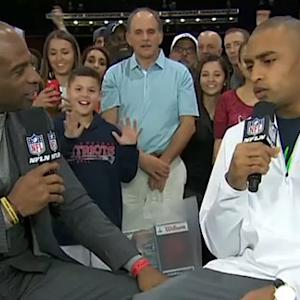 Deion Sanders faces off against Seattle Seahawks wide receiver Doug Baldwin