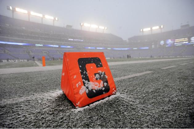 Snow falls at M&T Bank Stadium before an NFL football game between the Baltimore Ravens and the Minnesota Vikings, Sunday, Dec. 8, 2013, in Baltimore. A powerful storm system that spread snow, sleet a