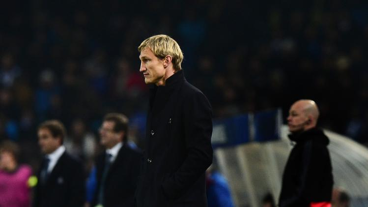 Bayer Leverkusen's coach Sami Hyypia watches during their Champions League soccer match against Real Sociedad at Anoeta stadium in San Sebastian
