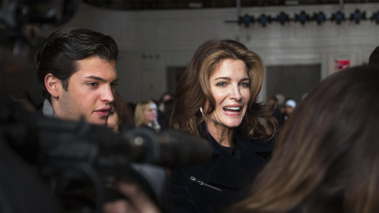 Model Stephanie Seymour is seen before the Jason Wu Autumn/Winter 2013 collection show during New York Fashion Week