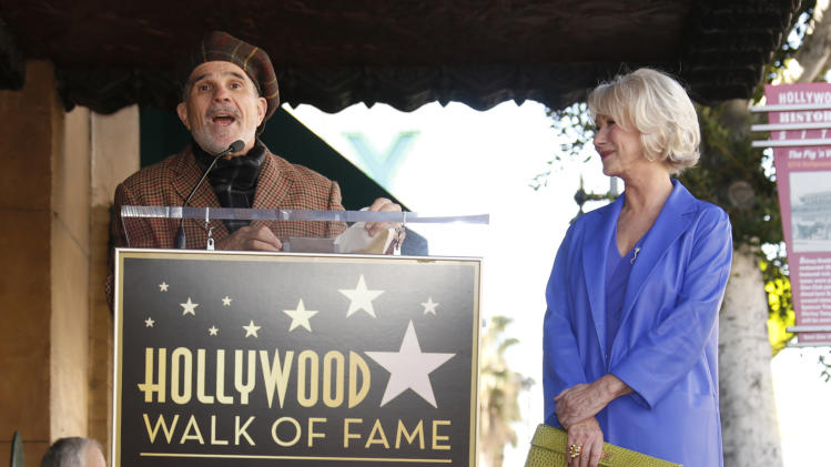 David Mamet introduces Actress Helen Mirren at her Hollywood Walk of Fame Ceremony on January 3, 2013 in Hollywood, California.  (Photo by Todd Williamson/Invision for Fox Searchlight/AP Images)