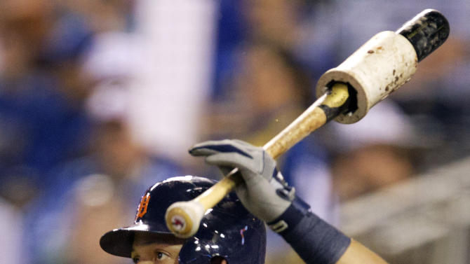 Detroit Tigers' Miguel Cabrera (24) takes a swing in the on-deck circle during the first inning of a baseball game against the Kansas City Royals at Kauffman Stadium in Kansas City, Mo., Wednesday, Oct. 3, 2012. (AP Photo/Orlin Wagner)