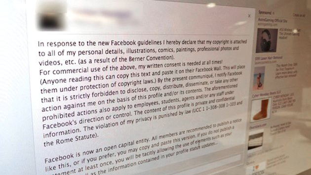 Ignore the 'Copyright' Facebook Warning (ABC News)