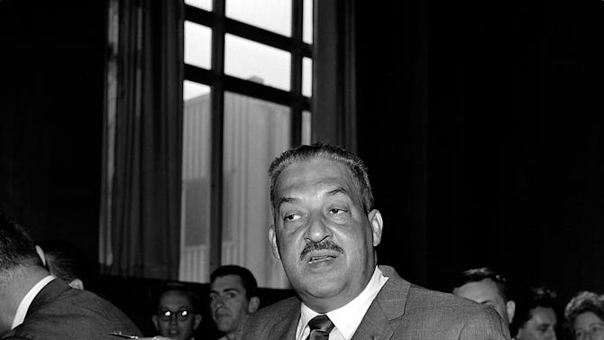 FILE - In this Aug. 8, 1962 file photo, Thurgood Marshall appears before a Senate Judiciary Subcommittee in Washington for a third hearing on his nomination as a judge of the U.S. Second Circuit Court of Appeals. Marshall, a former NAACP lawyer, was appointed to the bench by President John F. Kennedy in October 1961. He became Solicitor General in 1965 and the first African-American Supreme Court judge in 1967, both under the Lyndon B. Johnson administration. (AP Photo/File)